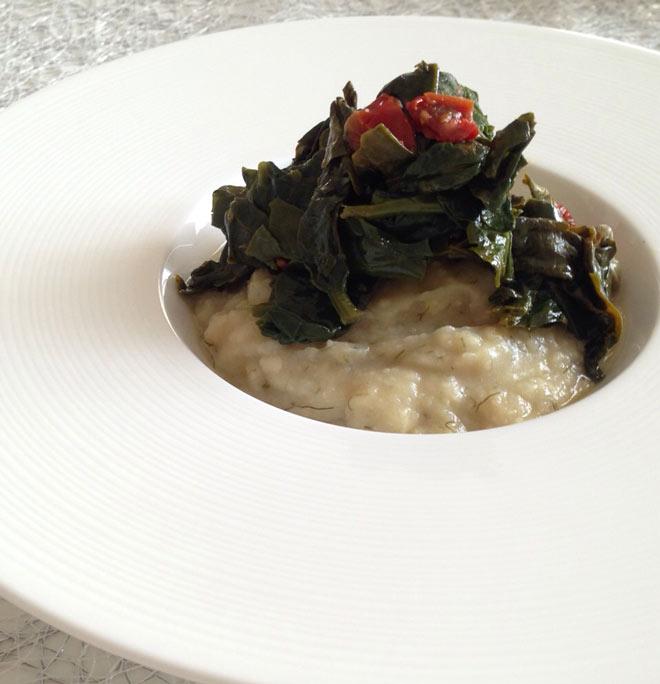 Maccu di Fave con spinaci, capperi e pomodori secci